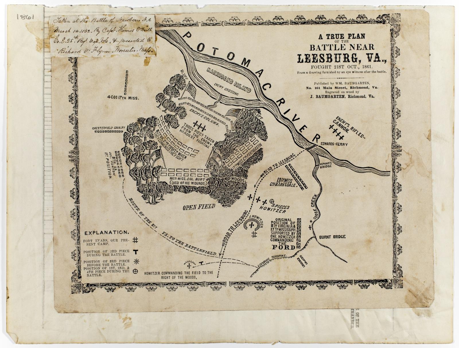 U0026quot A True Plan Of The Battle Near Leesburg  Va   Fought 21st